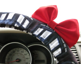 Steering Wheel Cover Bow, Doctor Who Inspired Steering Wheel Cover & Red Bow, Tardis Wheel Cover Bow, Police Box Wheel Cover Red Bow BF11250