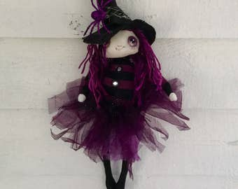 Halloween good witch , OOAK witch , Hand made hand painted witch , Great  Halloween gift , Collectable witch , Witch for Halloween decor .
