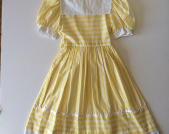 1980's Yellow Stripe Dress (10)