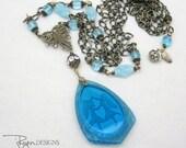 Repurposed Art Nouveau Necklace - Vintage Blue Necklace - Long Necklace - Unique Jewelry