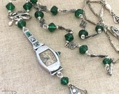 Art Deco Watch Necklace - Assemblage Art Deco Necklace - Sterling Silver Necklace - Watch Chain Green Necklace