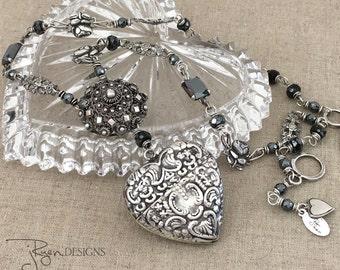 Antique Assemblage Heart Necklace - Sterling Silver Heart Pendant Necklace - Heart Locket Necklace - Heart Vesta Box - JryenDesigns