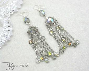 Vintage Assemblage Crystal Earrings Crystal Waterfall Earrings Chandelier Earrings Silver Multi Chain Dangle Earrings Unique Jewelry For Her
