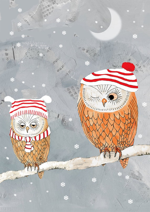 Owl print, winter owls, illustration print, giclee print, mixed media