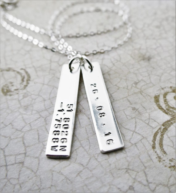 Latitude Longitude Jewelry - Gold Bar - Gold Fill - Custom Necklace - Personalized - Dates or Coordinates