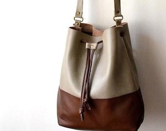 WINTER SALE Leather Bucket Bag, Leather Bucket Crossbody Bag, Leather Bucket Messenger Bag, Leather Bucket Tote, Wife Gift, Girlfriend Gift