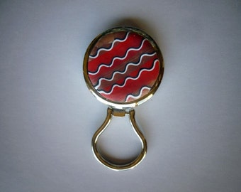 Polymer Clay Magnetic Eye Glass Holder or Magnetic Badge Holder in Red and Rainbow