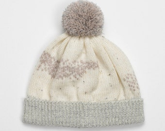 SALE -65% Pearl White abstract beanie jacquard knitting with warm pink beige, blue and grey colors pattern design