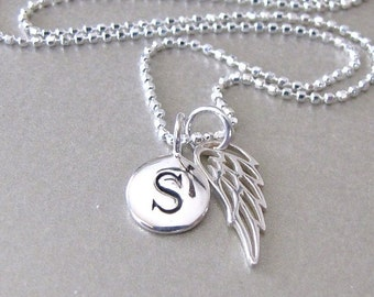 Silver Initial & Angel Wing Charm Necklace