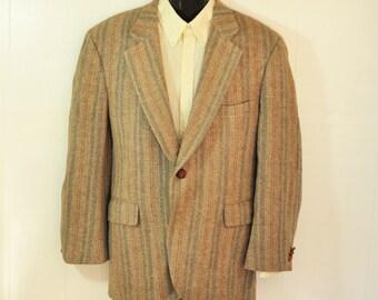 Vintage Mens Tweed Blazer Jacket 46S Sport Coat 1960's Vertical Stripe Grays Gold PBM Menswear