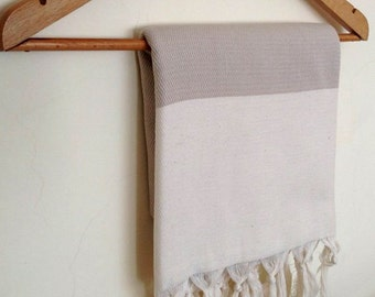 Elegant Organic Turkish Towel, Peshtemal, bath, spa, hammam, Natural Sof cotton, Beige, Gift for mother, Special Production, Handwoven