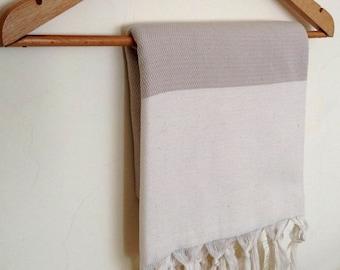Elegant Organic Turkish Towel, Peshtemal, bath, spa, hammam, Natural Sof cotton, Beige, Gift for mother, Handwoven, christmas gift