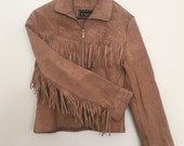 Vintage Fringed Authentic Leather Suede  Tan Jacket Perfect for Motorcycle Babes or 70s and 70s Bohemians