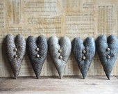 Primitive Blue Heart Bowl Fillers, Valentine Decor, Country, Farmhouse, Shabby Cottage Decor