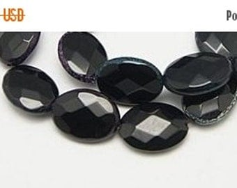 CLEARANCE Onyx Black Agate Beads Strands, Dyed, Faceted, Flat Oval, 19x15x6mm -10