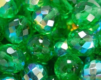 CLEARANCE 12mm Czech Beads Faceted  in AB Light Emerald Green -8