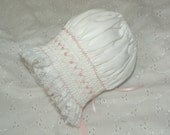 CLEARANCE - White with pink Pearls Bonnet - New Born to 6 Months