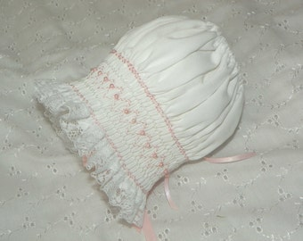White with pink Pearls Bonnet - New Born to 6 Months
