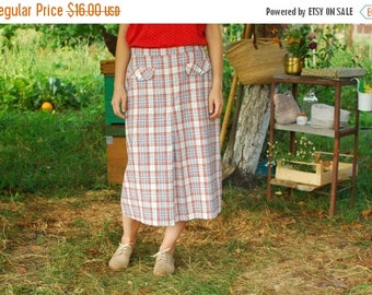 SALE Vintage 70s Checkered Midi Skirt