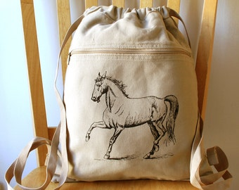 Horse Canvas Backpack School Bag