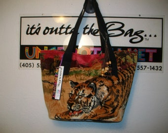 Vintage Velvet Wall Hanging Tiger Tote with Bead Embellishment