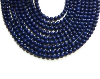 Lapis Blue Jade - 6mm Round Bead - Full Strand - 61 beads - colbalt navy blueberry - dark blue