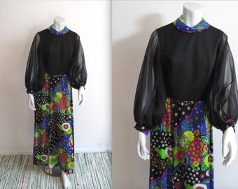 Vintage 60s 70s Chiffon Sleeve Psychedelic Floral Maxi Dress