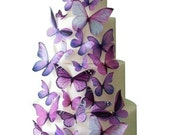 CHRISTMAS in JULY SALE Wedding Cake Topper - Edible Butterfly Winter Wedding Decorations - 30 Purple Edible Butterflies for Cakes and Cupcak