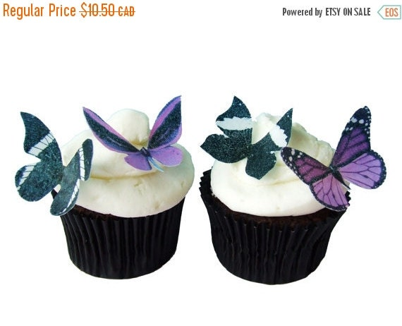 CHRISTMAS in JULY SALE 24 Edible Butterflies -  Purple and Black - Cupcake Toppers - Cake Decorations - Wedding Cake - Cake Topper - Destina