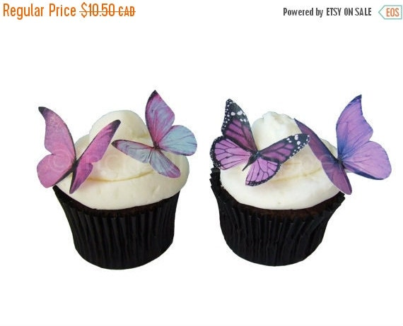 SALE Cake Cupcake Toppers Wedding Cake Topper - Edible Butterflies in 24 Prettiest Purple - Cupcake Toppers, Butterfly Cake Decorations