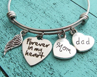 memorial dad mom, loss of father mother, sympathy gift parents, forever in my heart memorial bracelet, in loving memory dad mom, remembrance
