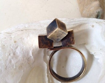 Sculptural ring, Architecture ring, Statement ring
