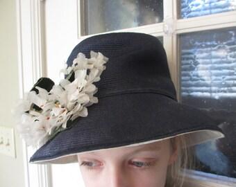 Vintage Frank Olive Navy Summer Hat
