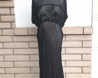 1990's Does 1940's Black Beaded Rayon Dress by Nostalgia Size Large TALL