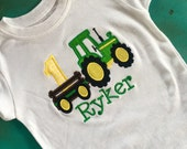 Personalized tractor with wagon yellow/green birthdays/age t-shirt