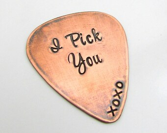 Personalized Guitar Pick, Personalized Gift for him, Custom Copper Guitar Pick, I Pick You, Hand Stamped Guitar Pick, Valentines Day Gift