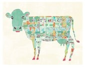 Cow Art, Kansas Farms, Farm Animals Wall Art, Kitchen, Bathroom, Guest Room, Wall Art, Quilted Cow, Unique Colorful Wall Decor, LilyCole
