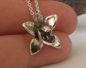 Dendrobium Necklace, Silver Orchid Necklace, Silver Orchid Necklace, Silver Necklace, Dendrobium Orchid, Wedding Bridesmaid Gifts by Dawn