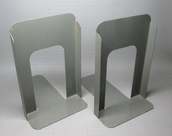 Globe Wernicke bookends , large size gray color , vintage industrial office , metal