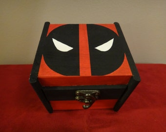 Custom Painted Wooden Keepsake Box - Deadpool