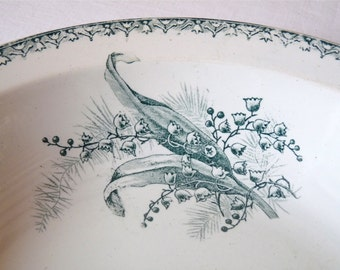 Salad Bowl Lily of the Valley 19th Century French Antique Vegetable Dish Shabby Chic Bowl Transferware Bowl Green Pattern