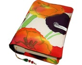 Handmade Bible Cover, Fabric Book Cover, Vintage Kimono Silk, Hand Painted Poppies - Design B, UK Seller