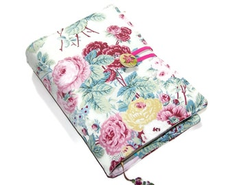 Handmade Bible Cover, Fabric Book Cover Cottage Chic Roses, UK Seller
