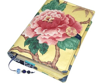Handmade Book Cover, Bible Sleeve, UK Seller, Oriental Dynasty Tree Peony, Suitable for Hardback or Paperback books