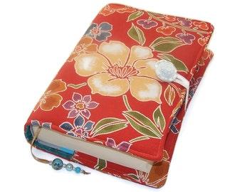 Fabric Book Cover, Handmade Bible Sleeve, Vintage Kimono Silk, Camellia and Cherry Blossom, UK Seller, for Paperback Books or Hardback books