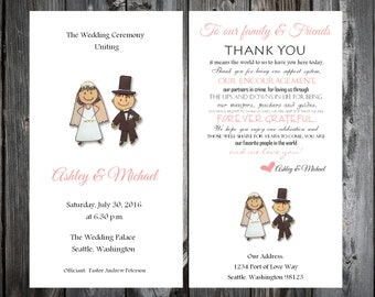 Bride and Groom Wedding Programs 100 Wedding Ceremony Personalized and Printed Programs