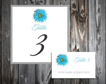Malibu Blue Daisy 25 Table Numbers and 250 place settings.  Personalized & printed Reception guests table decorations