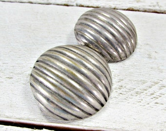Huge Silver Circle Earrings, Large Domed Modernist Earrings, Big Patina Statement Earrings, Clip-On Earrings,  1970s Vintage Runway Jewelry
