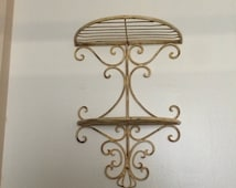 Shabby Chic Petite Wrought Iron Étagère  - Salvaged Relic Filigree Shelves - Vintage Rusty Antiqued White