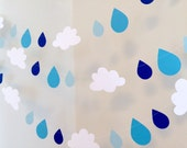 Baby Sprinkle decorations - Raindrop garland Decoration - 10ft Clouds and raindrops banner - Baby shower garland -Your color choice